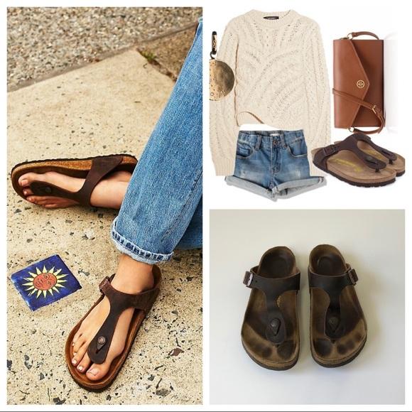 Birkenstock Gizeh Leather Habana Sandals